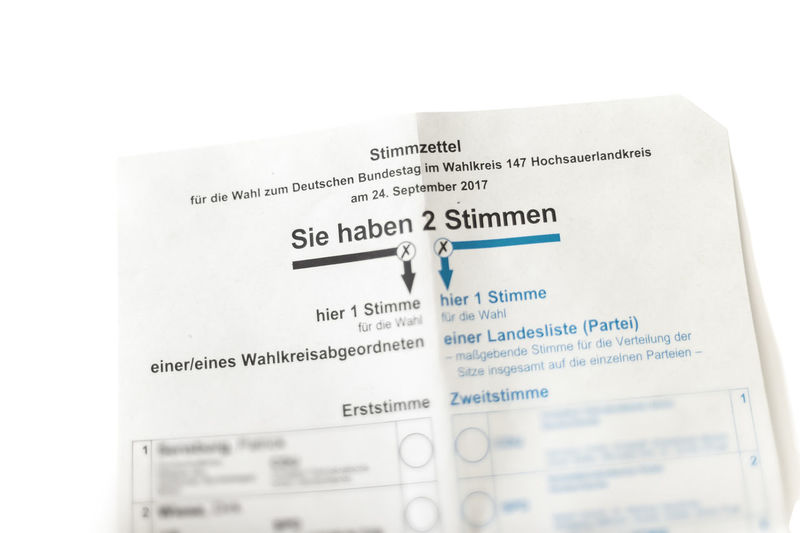 voting card for the German government Base Bundestag Choice Cross Democracy Government Politics September Constituency Election Result Federal Government First Vote Germany List Paper Parliamentary Elections Party Polling Card Postal Vote Representatives Second Vote Voice Vote Voter Voting Card