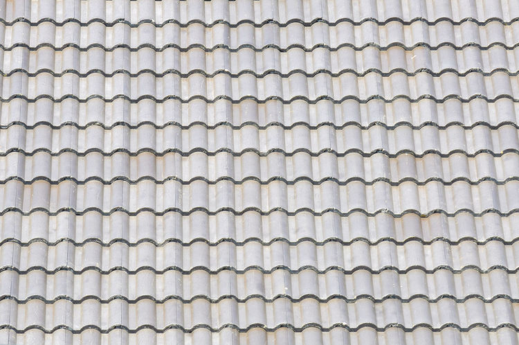 grey roof tile pattern made from cement Architecture Building Ceramic Construction Full Frame Grey Home House Mosaic Protection Rain Roof Roof Tile Rooftop Sun Light Symetry Tiles Weathered