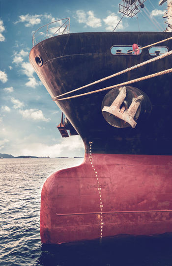 Bow of a ship with draft scale numbering, waterline of an industrial ship Heavy Numbering Scale  Bow Of Ship Carrier Close-up Cloud - Sky Day Deep Depth Level Mode Of Transport Moored Nature Nautical Vessel No People Outdoors Rope Sea Sky Transportation Vessel Draft Water Waterline Weight
