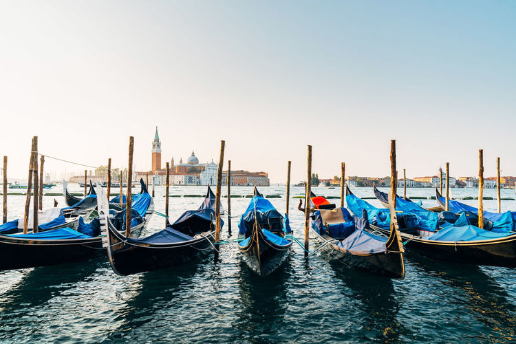 Gondolas Moored In Venice