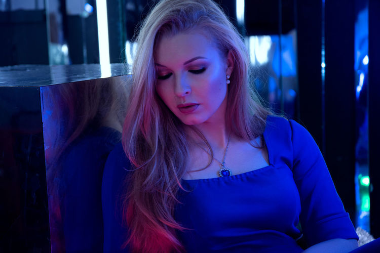 blue dress EyeEmNewHere Blue Dress Neon Neon Lights Girl Model Heart Of The Ocean Photoshoot Photostudio Young Women Women Front View Long Hair Close-up Pink Hair Neon Colored
