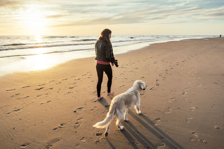 Rear view of woman with dog walking on sand at beach