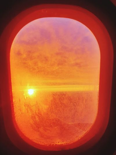 Plane Window Plane Window Plane Window View Axelborisab Yesss Sunrise Sunset Backgrounds Full Frame Orange Color Sun Red Sky Close-up