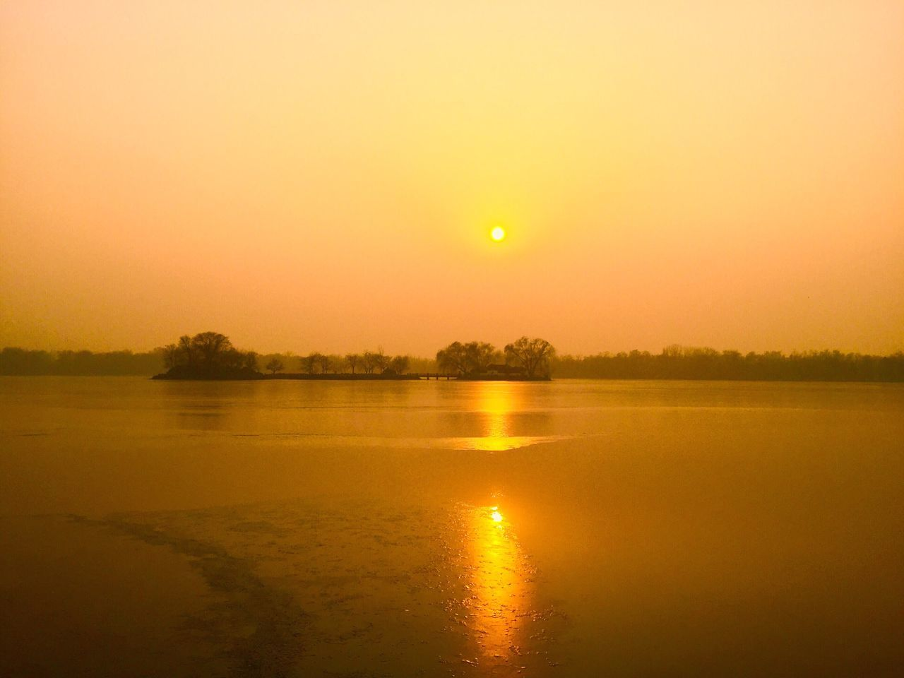 sunset, reflection, nature, sun, tranquil scene, orange color, water, beauty in nature, scenics, tranquility, no people, sky, tree, outdoors, clear sky, day