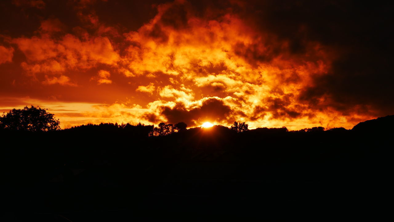 silhouette, orange color, sunset, beauty in nature, sky, nature, burning, no people, heat - temperature, scenics - nature, tranquility, fire, environment, flame, tranquil scene, cloud - sky, glowing, fire - natural phenomenon, dark, tree, outdoors