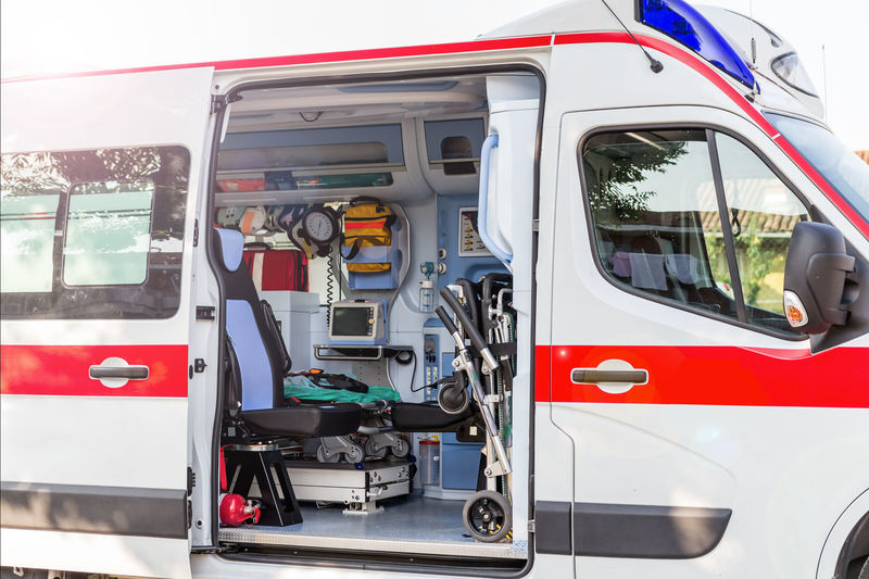 Ambulance of Red Cross Crash Doctor  ECG EMS Emergency Injured Medicine Nurse Paramedic Ambulance Ambulance Service Defibrillator Disaster Flashlight Heart Ictus Inside Red Cross Rescue Trauma