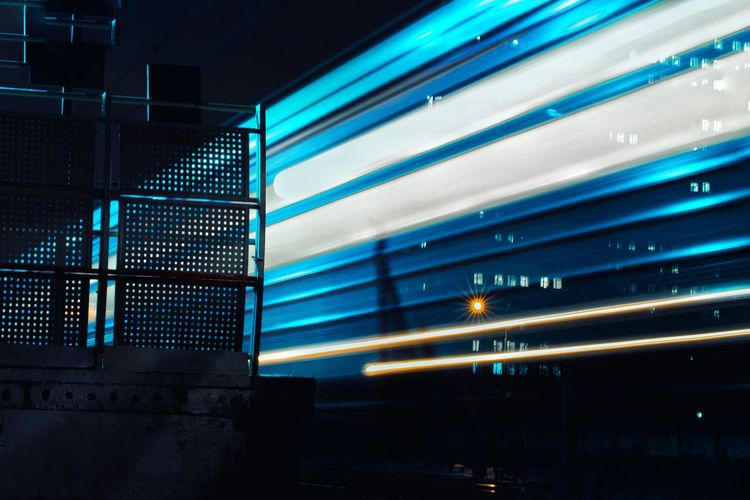 Blurred motion of train at night