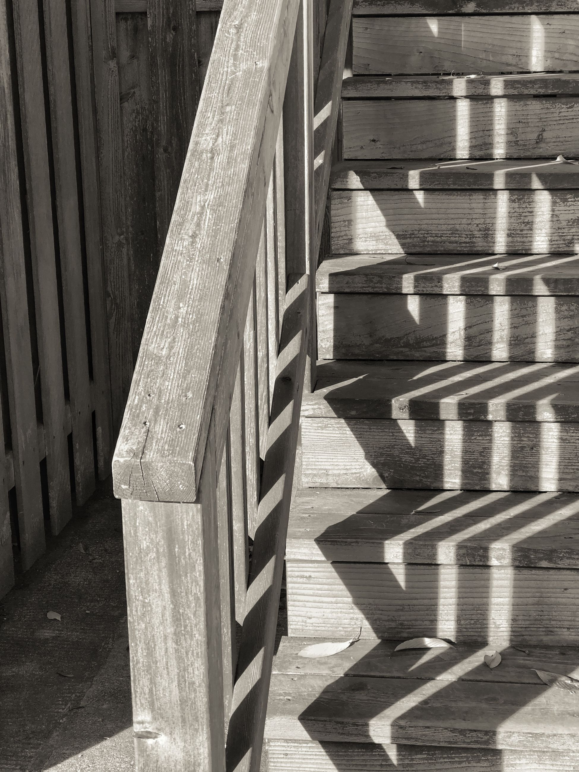 architecture, shadow, no people, sunlight, wood - material, built structure, day, pattern, staircase, railing, nature, steps and staircases, outdoors, absence, the way forward, building, metal, high angle view, footpath