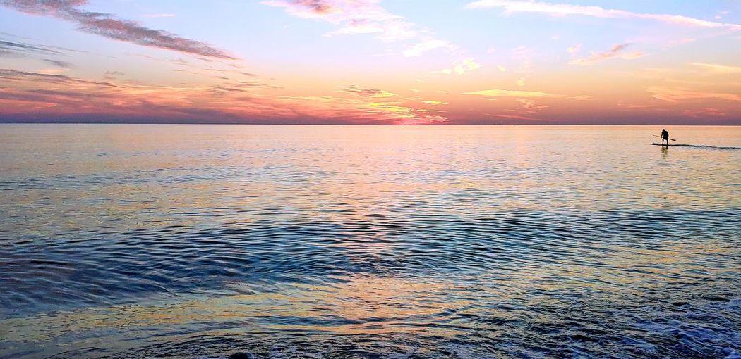 Paddle board Water Sea Low Tide Sunset Beach Swimming Multi Colored Blue Wave Sand Paddleboarding Seascape Oar Coastline