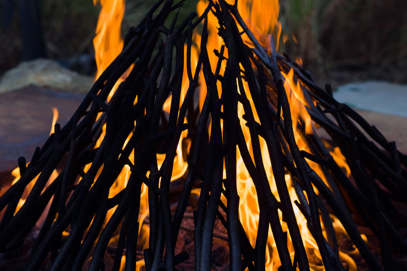 Close-up of fire on log at sunset