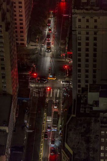 New York traffic as seen from above during a power outage. Building Exterior Architecture Built Structure Mode Of Transportation City Transportation Car Motor Vehicle Land Vehicle High Angle View Illuminated Road Night No People Street Traffic Sign Building Public Transportation Travel Office Building Exterior New York City Sandy Storm Power Outage
