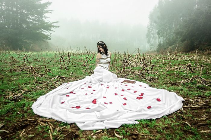 'Ars Amandi I' EyeEm Selects EyeEm Gallery EyeEm Portrait Of A Woman Fog Grass Nature Young Adult One Person Rear View Outdoors Beauty In Nature Landscape Bride Women Field Visual Creativity