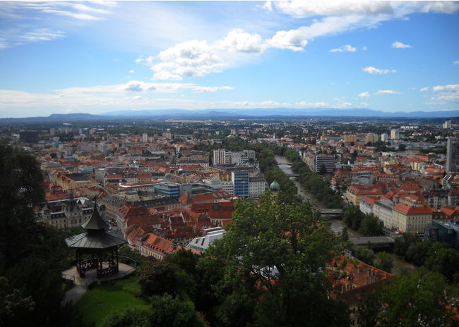 Architecture Austria City City Life Cityscape Cloud - Sky Day Graz High Angle View Landscape No People Outdoors Pagode Panorama Steiermark Summer 2016 Urban Skyline