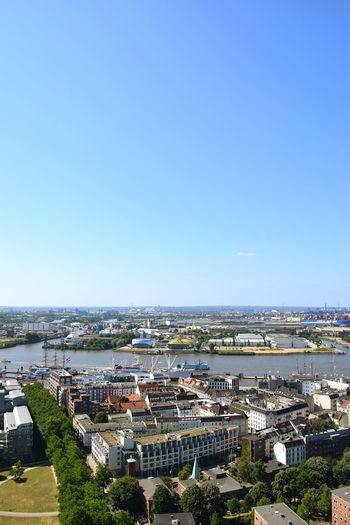 Nature Beauty In Nature River Elbe ♥️ Sunlight Sunshine Outdoors Focus On Foreground City Cityscape Clear Sky Sea Residential Building Aerial View High Angle View Sunny Sky Architecture TOWNSCAPE Town