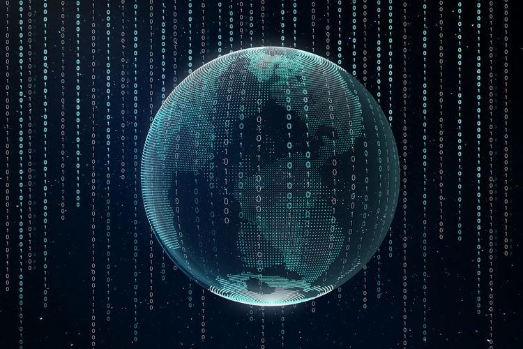 Digital composite image of globe with illuminated patterns