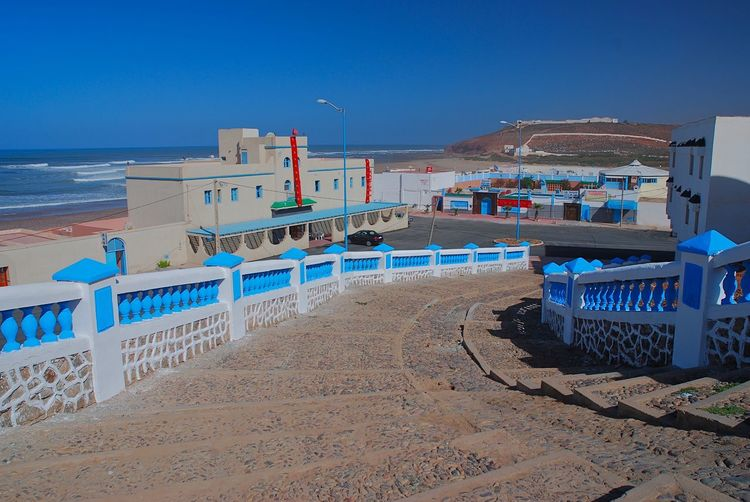 Atlantic. Sini Ifni,Morocco, Surf Town, Architecture Beach Blue Built Structure Clear Sky Day Nature No People Outdoors Prommenade Sand Sea Sky Stairways