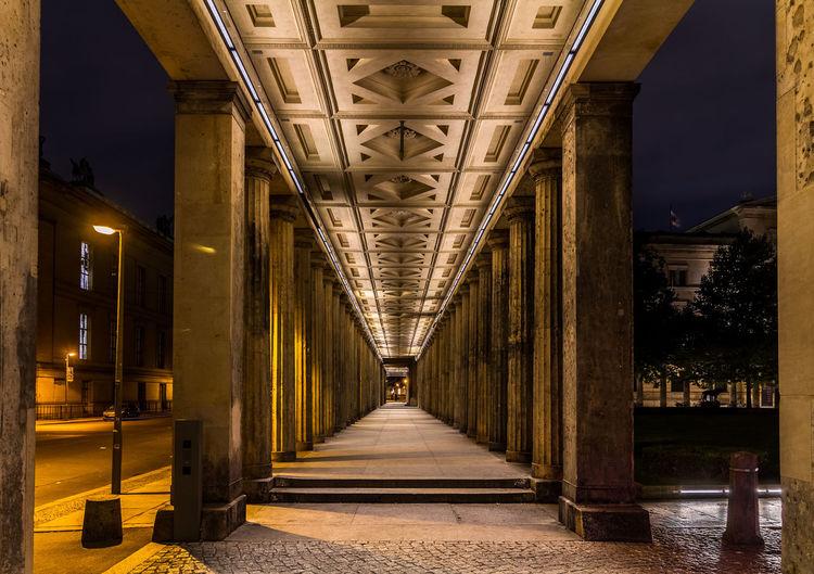 Interior of illuminated bridge at night