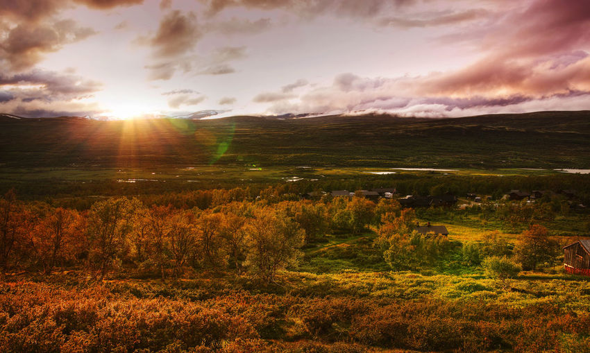Scenic View Of Dovrefjellsunndalsfjella National Park During Sunset