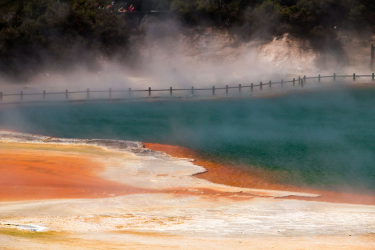 Water Heat - Temperature Steam Nature Power In Nature Hot Spring Fog No People Scenics - Nature Day Environment Beauty In Nature Geyser Geology Travel Motion New Zealand Waiotapu Steam Orange Color Nature Photography Beauty In Nature EyeEmNewHere