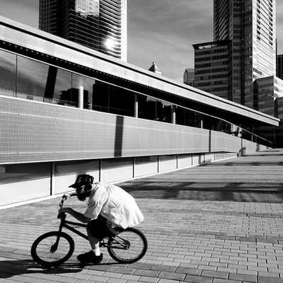 Flatland Paradise 🌴🌆🏢 DaleTidyPhoto Bmx  Riders LineAndForm BNW BlackandWhite Downtown Vancouver VanCity IgersVancouver Waterfront Architecture