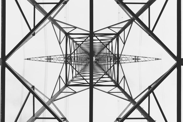 Built Structure Low Angle View Sky Metal Architecture No People Connection Electricity Pylon Day Technology Fuel And Power Generation Directly Below Pattern Electricity  Tall - High Full Frame Power Supply Alloy Steel Energy Industry Power Line  Lines And Shapes
