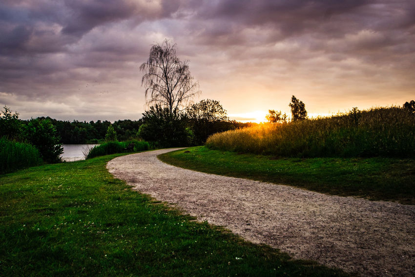In Thoughts With You Genießen Beauty In Nature Heaven Clouds And Sky Beautiful Scenery Scenery Abschalten The Way Forward The Week on EyeEm Tree Sunset Shadow Field Sky Grass Cloud - Sky Scenics Idyllic Calm Lakeside Tranquil Scene Tranquility Horizon Over Water Countryside