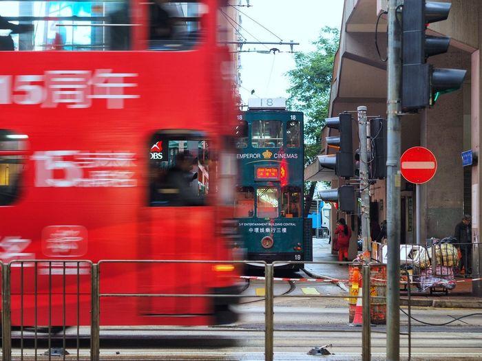 Hongkong Tram Red Blurred Motion Speed Fire Engine
