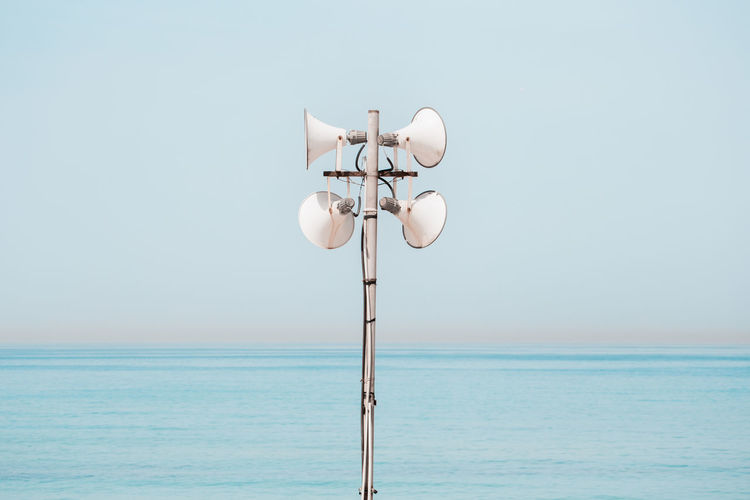 Noise Announcement Message Beach Beauty In Nature Clear Sky Communication Copy Space Day Horizon Horizon Over Water Land Megaphone Nature No People Outdoors Public Address System Scenics - Nature Sea Sky Speaker Summer Technology Tranquil Scene Tranquility Water