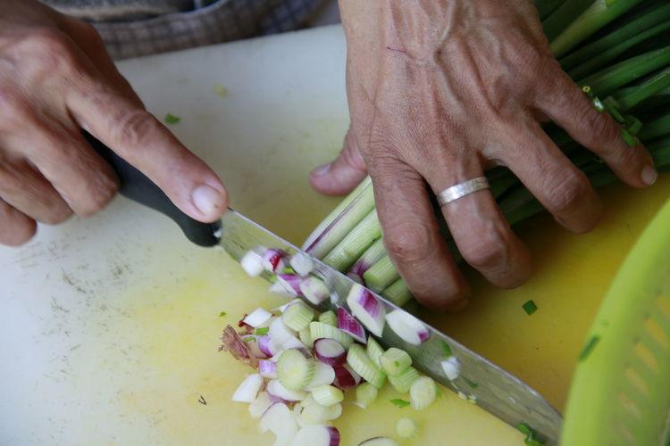 High angle view of people preparing food