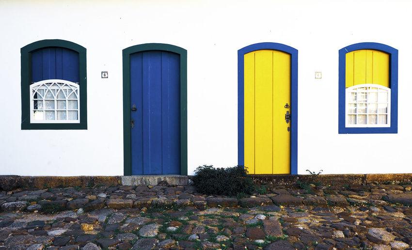 Blue closed door of building