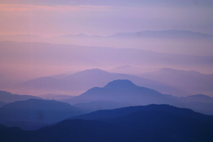 Sunrise mountains Mountain Fog Beauty Mountain Peak Morning Pink Color Sky Landscape Mountain Range Mountain Ridge Multi-layered Effect