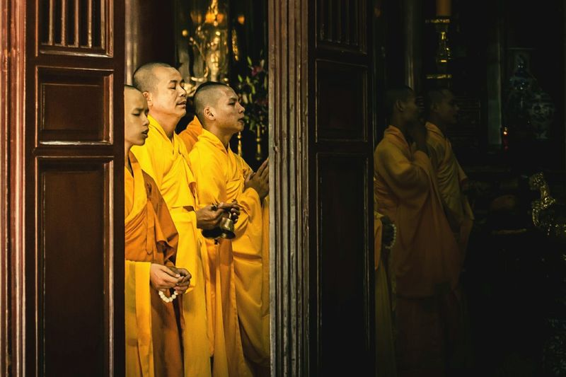 Monks in prayer. Hue, Vietnam. Religion Monks Buddhist Monks Buddhism Buddhist Temple Vietnam Huế Travel Photography Malephotographerofthemonth Exceptional Photographs EyeEm Best Shots Check This Out Bestoftheday Eye4photography  Travel Destinations EyeEm Gallery