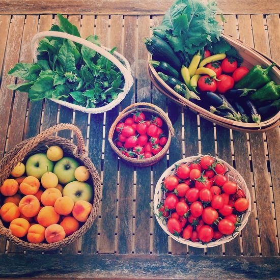 High Angle View Of Fruits And Vegetables On Floorboard