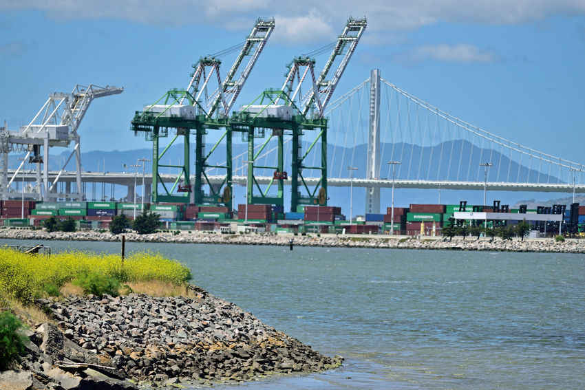 Sights of Middle Harbor 1 Port Of Oakland, Ca. Middle Harbor Shoreline Park Port Cranes Bay Bridge New Tower Eastern Span Estuary Port Containers Bridge Span Traffic On Bridge Landscape_Collection Landscape_photography Marin Headlands Sky And Clouds Waterfront Keys To The Economy Import/export Commerce Rock-lined Shore Landscape