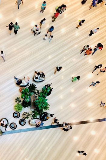 High angle view of people in shopping mall