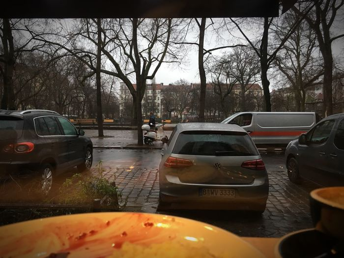 … & look like nothing's gonna come my way So, I'm just gon' sit at the window Watchin' the rain I'm sittin' at the window Wastin' time Yellow Light Rainy Day Rainy Winter Day Friedrichshain Berlin Boxhagener Platz Parking Space Empty Cup Of Coffee Dirty Plate Looking Out Of The Window Window Tree Bare Tree City Street Wet Rain Day No People