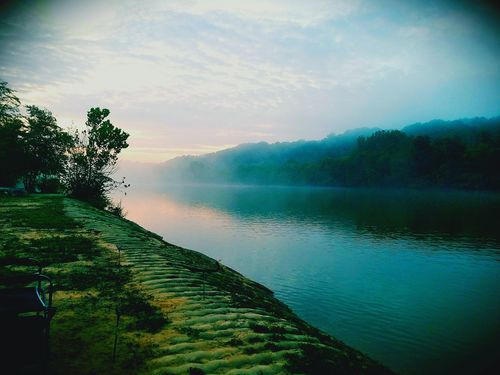 Early morning mist surrenders to sunrise over the river. August on the Chattahoochee River. Roswell, GA Water Nature Beauty In Nature Reflection Tranquility Scenics Landscape Sunrise Morning Light Riverbank