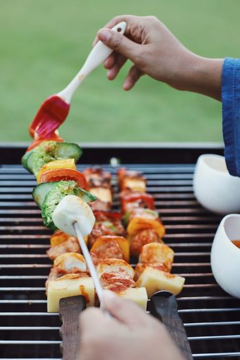 Barbecue grilled Vegetable Fire Garden Tasty Summertime Leisure Activity Outdoors Lifestyles Summer Sauce Party BBQ Pork BBQ Camping Food And Drink Food Human Hand Hand Human Body Part Holding Barbecue One Person Close-up Barbecue Grill Healthy Eating Meat Ready-to-eat Lifestyles Grilled