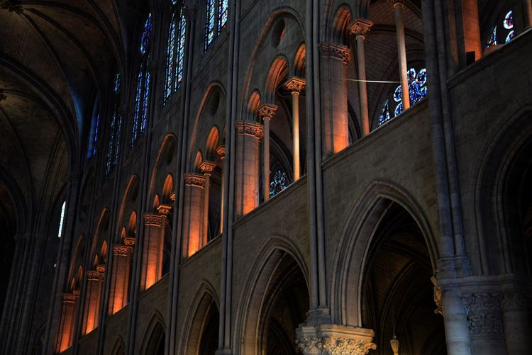 Before the fire Notre Dame De Paris Cathedral Historical Architecture Touristic Destination Indoors  Historical Building Touristic Attraction Architecture Travel Destinations Arch Built Structure Religion Building Exterior Low Angle View Place Of Worship No People Tourism Building Panoramic The Past Belief Ceiling City Travel
