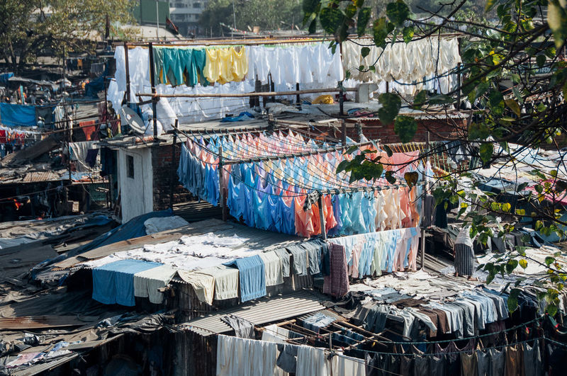 Clothes drying on display at store