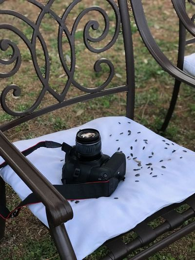 High angle view of camera on table at field
