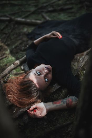 One Person Real People Young Women Lying Down Young Adult High Angle View Lifestyles Outdoors Looking At Camera Day Forest Portrait Nature Beautiful Woman People