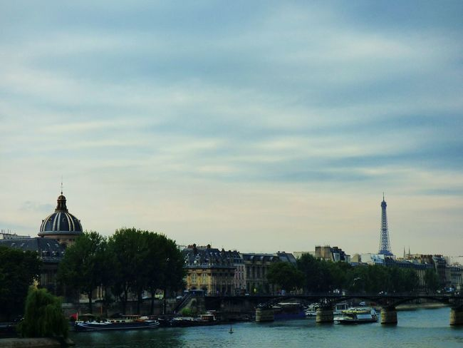 Paris Eiffel Tower Bridge Architecture Water Seine River La Seine Dome Basilica City Cloud - Sky No People
