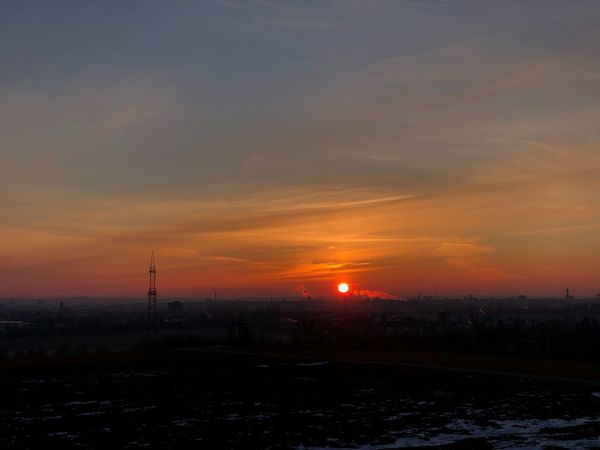 Sunrise Sunset Orange Color Dramatic Sky Beauty In Nature Scenics Tranquility Nature Cold Temperature Outdoors No People