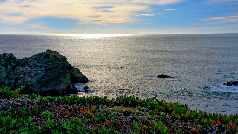 Unlikely Colors Sea Nature Scenics Outdoors Tranquility Horizon Over Water Travel Destinations Vacations Bodega Bay Hwy 1 Tranquil Scene Backgrounds Sunlight Copy Space Sky Ocean Reflection Sheen Overwhelming Red Tranquility Sunset Overlook Be. Ready.
