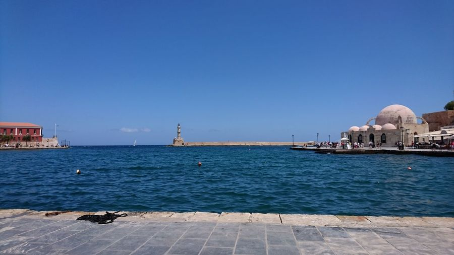 Chania harbour on Crete Crete Greek Harbour Sea Water Architecture Wall Buildibgs First Eyeem Photo