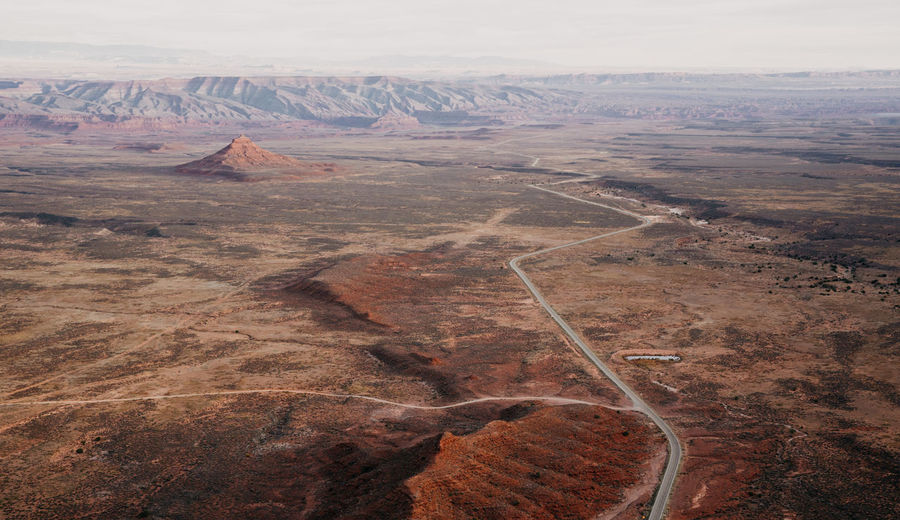 High angle view of dramatic utah landscape