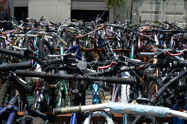 For Sale Abundance Backgrounds Bicycle City Life Day Full Frame In A Row Land Vehicle Large Group Of Objects Mode Of Transport Outdoors Parked Parking Parking Lot Stationary