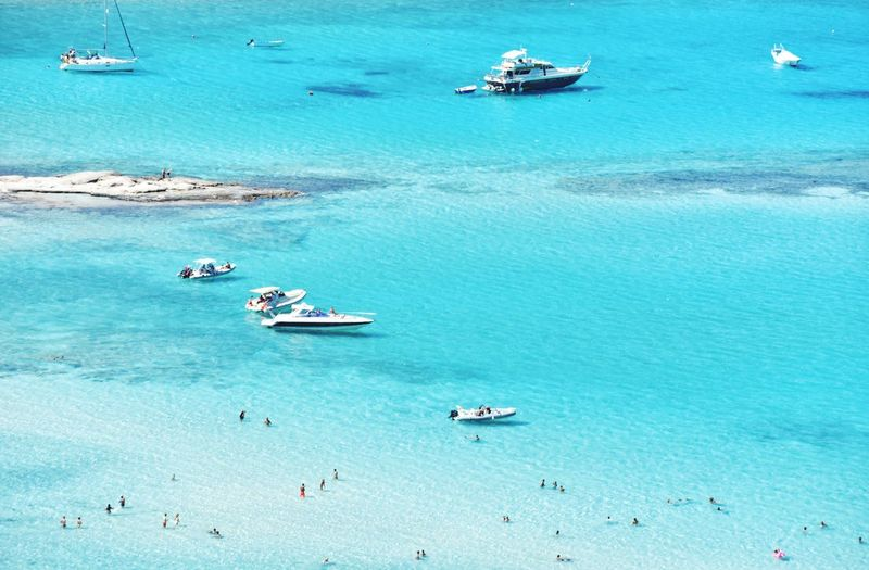 Balos bay top view on crete island in greece