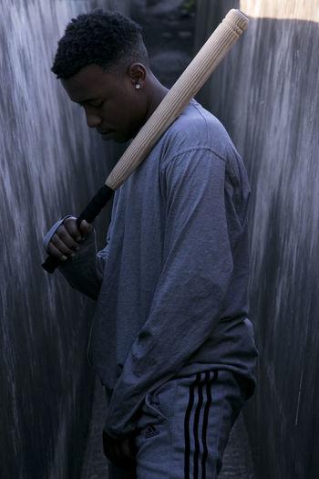 Fashion Stripes Baseball Bat Black Male Black Model Casual Clothing Fashion Photography Holding Male Model Portrait